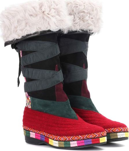 Etro Embroidered suede boots