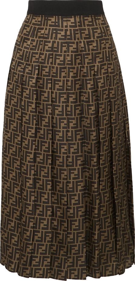Fendi Pleated silk-jacquard midi skirt