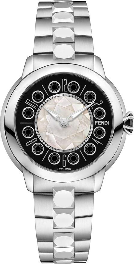 Fendi 38mm IShine Stainless Steel Bracelet Watch w/Black Spinel