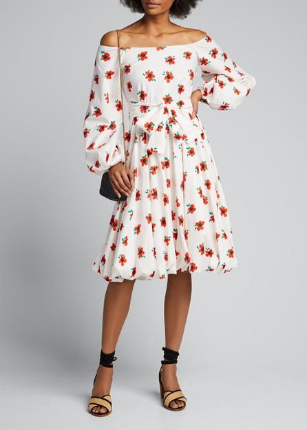 Caroline Constas Bea Off-Shoulder Floral Long-Sleeve Dress