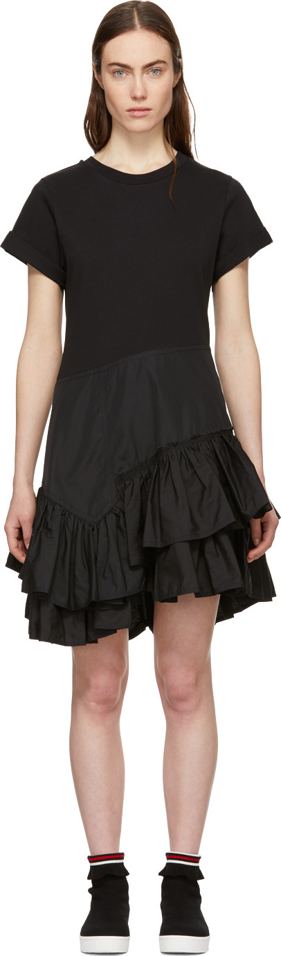3.1 Phillip Lim Black Flamenco T-Shirt Dress