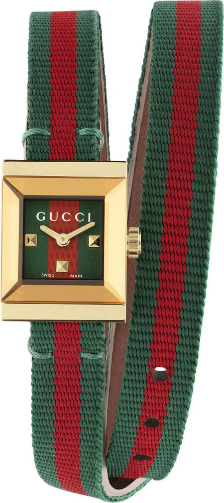 Gucci G-Frame Square Double-Wrap Web Watch