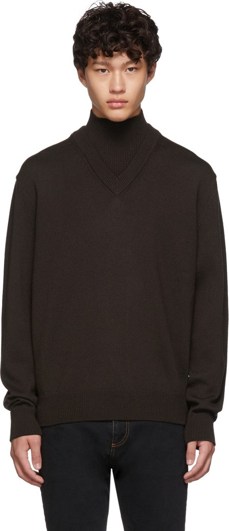 BOSS Hugo Boss Brown Virgin Wool B-Curator Mock Neck Sweater