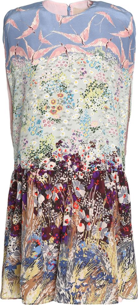 Valentino Gathered printed silk-blend crepe de chine mini dress