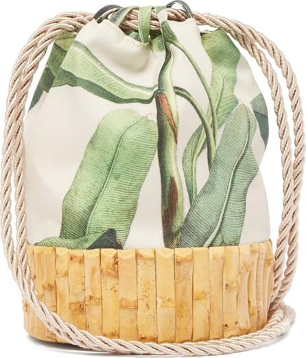 Glorinha Paranagua Saigon leaf-print canvas and bamboo bucket bag