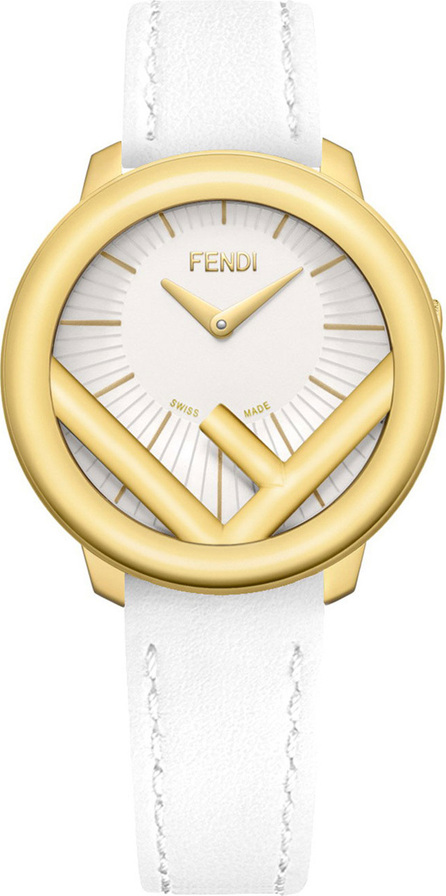 Fendi 36mm Run Away Watch with Leather Strap, White/Golden