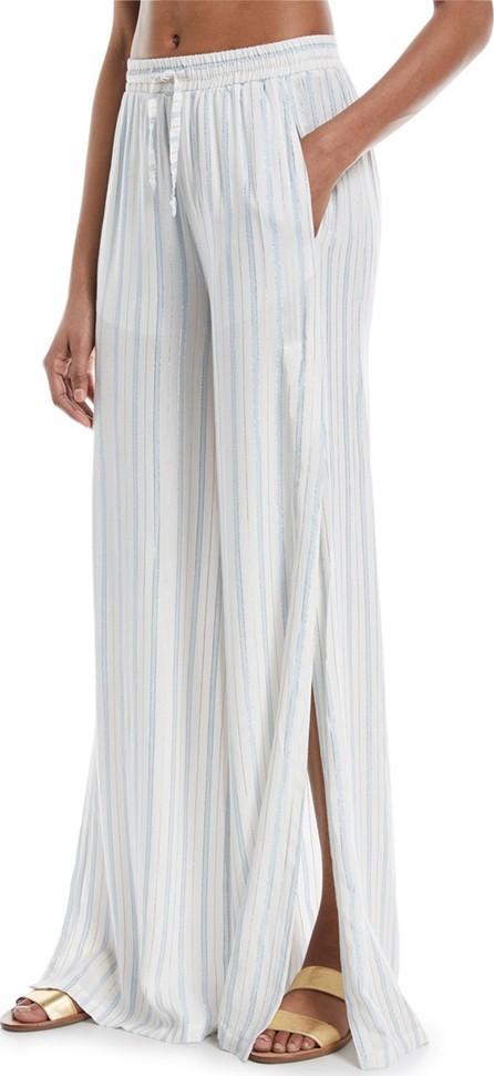 Onia Chloe Wide-Leg Side-Slit Striped Coverup Pants