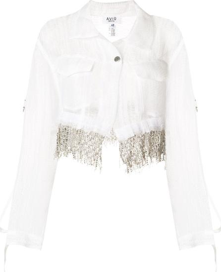 Aviu Crystal fringe trim cropped jacket