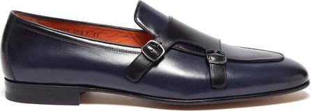 Santoni 'Carlos' apron front double monk strap leatherloafers