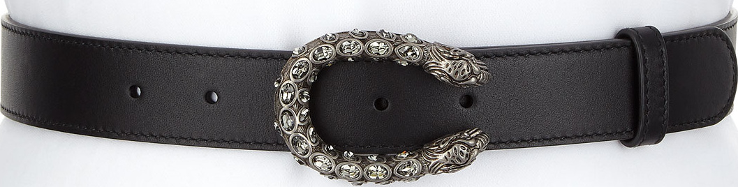 d679de9fc9f Gucci Leather Belt with Crystal Dionysus Buckle - Mkt