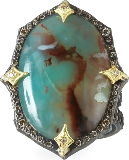 Armenta Old World Aquaprase™ Oval Cabochon Ring with Diamonds