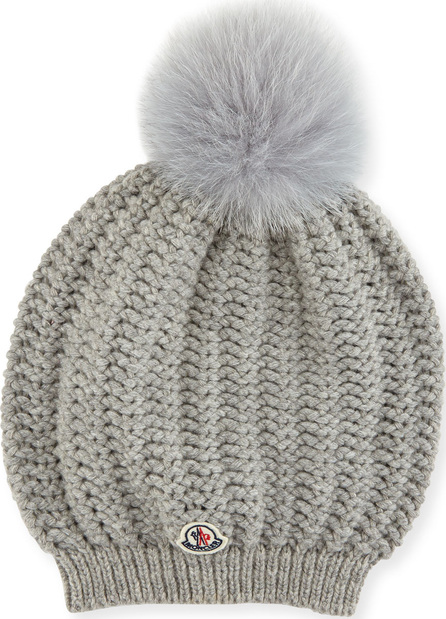 Moncler Bailey Slouchy Fur Pompom Beanie Hat