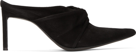 Haider Ackermann Black Suede Knotted Mules