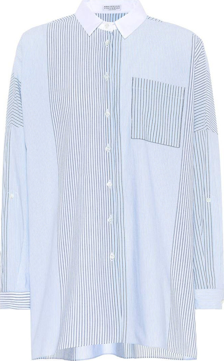 Brunello Cucinelli Stripe-blocked cotton shirt