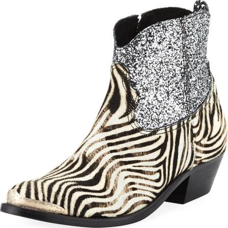 Golden Goose Deluxe Brand Young Zebra Glitter Western Booties