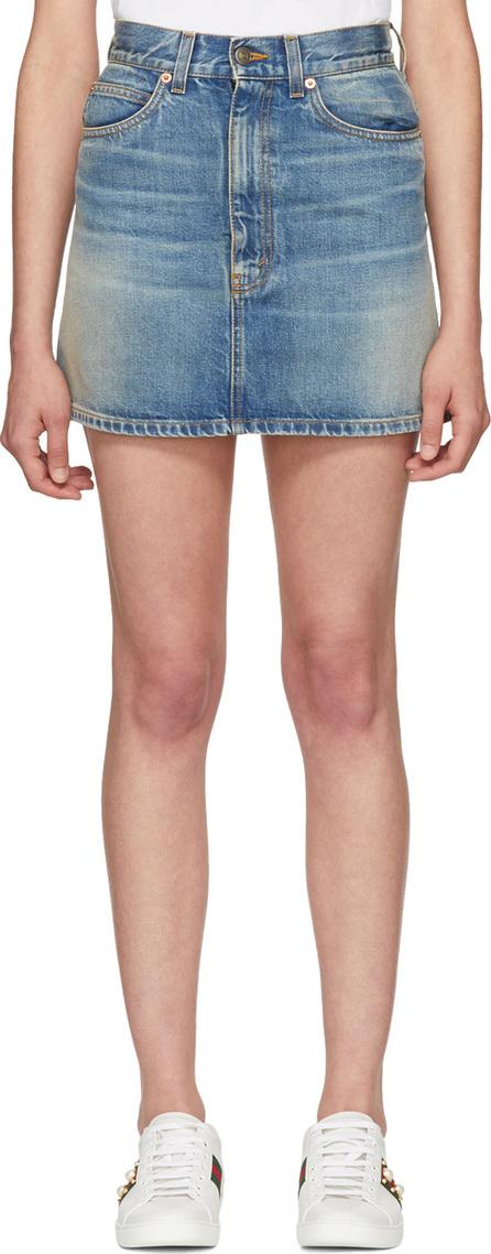 Gucci Blue Denim Embroidered Cat Miniskirt