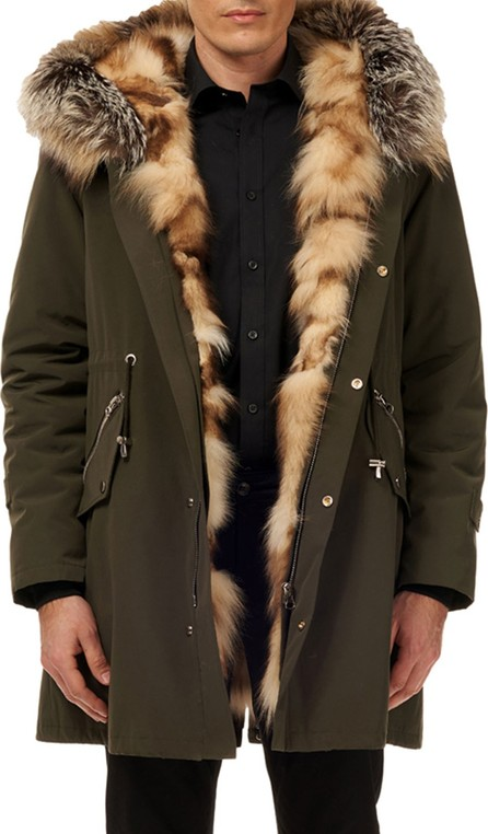 Gorski Men's Fox-Lined Parka Coat w/ Detachable Hood