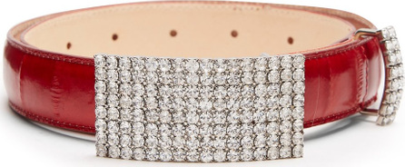 Alessandra Rich Anguilla crystal-embellished leather belt