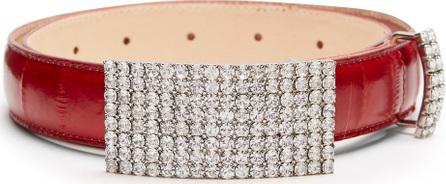 Alessandra Rich Anguilla crystal-embellished leather belt