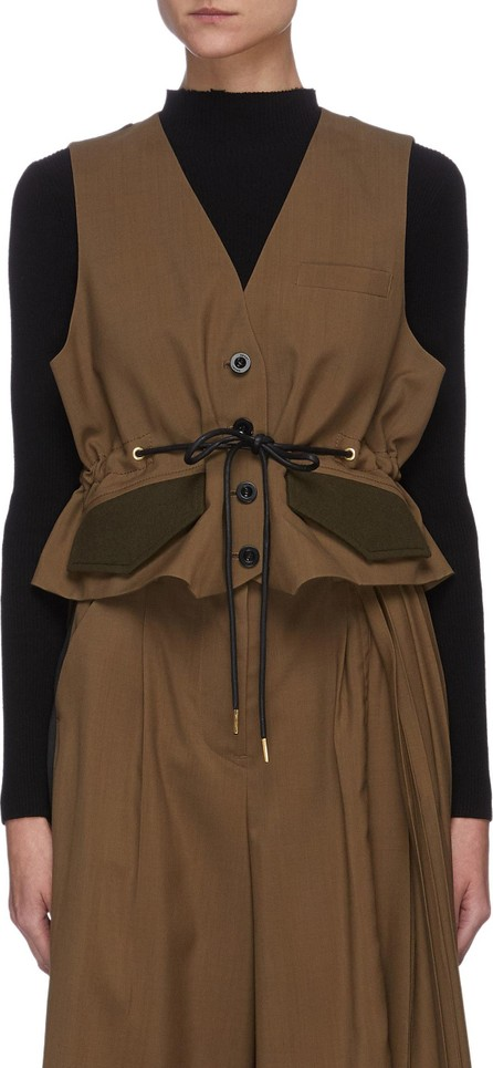 Sacai Panelled drawstring waist tailored waistcoat