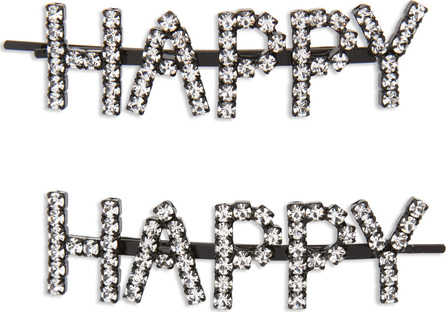 Ashley Williams Happy Set of 2 Crystal Bobby Pins