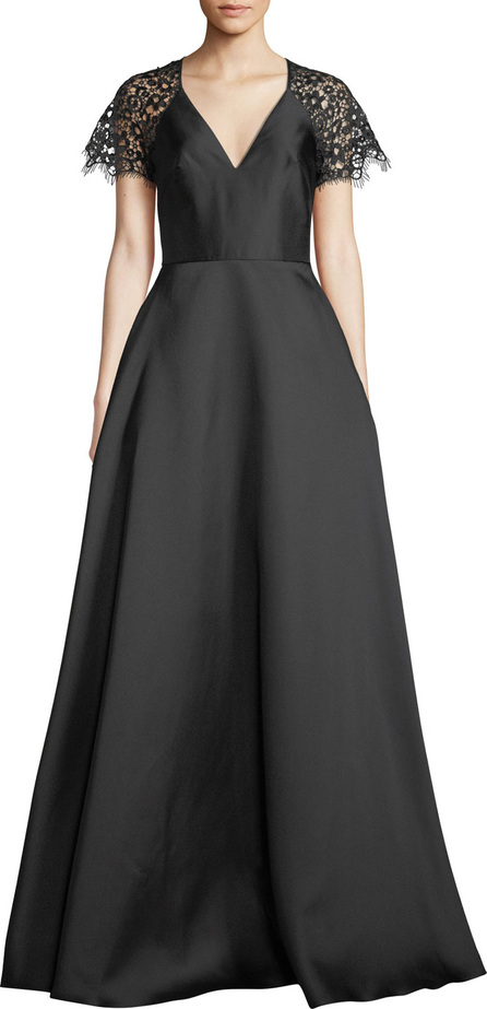 ML Monique Lhuillier V-Neck Ball Gown w/ Lace Sleeves