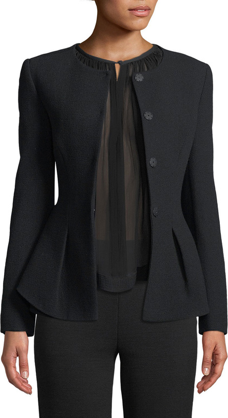 Emporio Armani Snap-Closure Stretch-Wool Crepe Peplum Jacket