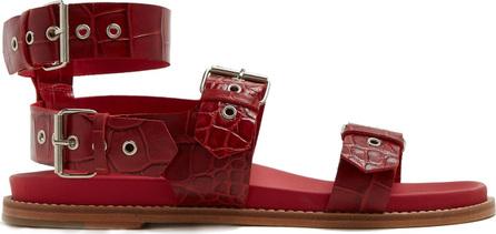 Marques'Almeida Double-strap crocodile-effect leather sandals