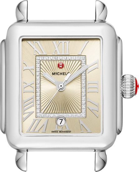 MICHELE Deco Madison Stainless Steel Watch Head with Diamonds, Champagne Dial
