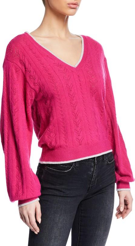 cupcakes and cashmere Ravi V-Neck Blouson-Sleeve Sweater w/ Metallic Trim