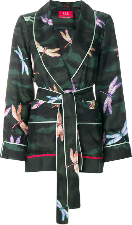 F.R.S For Restless Sleepers Tie waist dragonfly print shirt