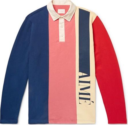Aimé Leon Dore Logo-Print Colour-Block Loopback Cotton-Jersey Polo Shirt