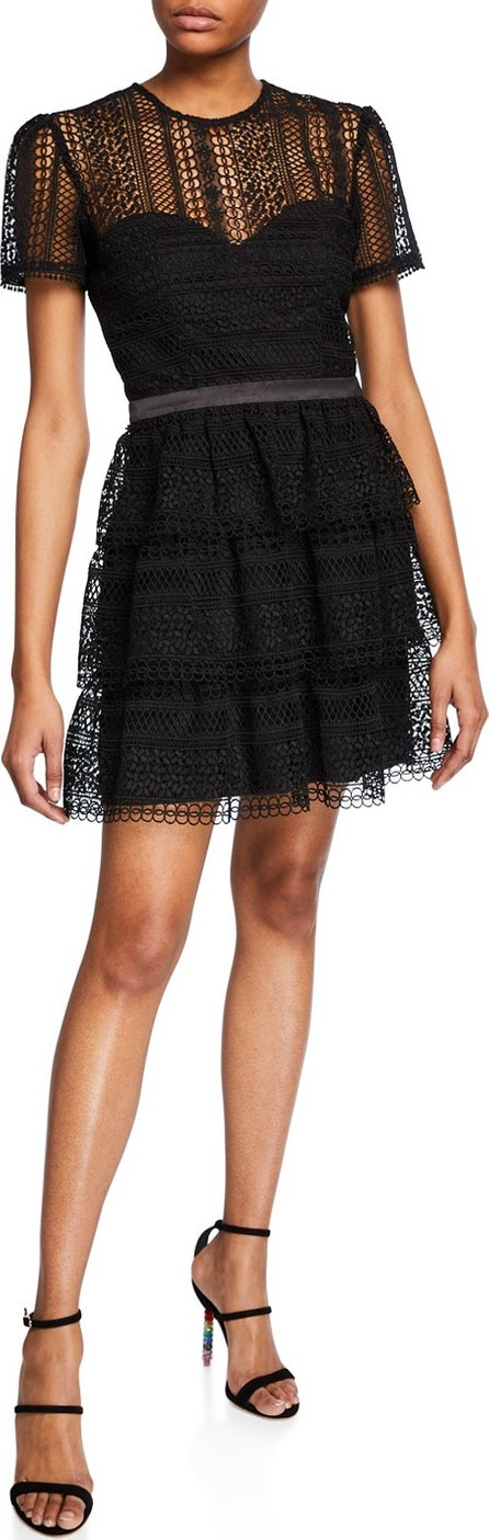 Bardot Ava Crewneck Short-Sleeve Tiered Lace Illusion Dress