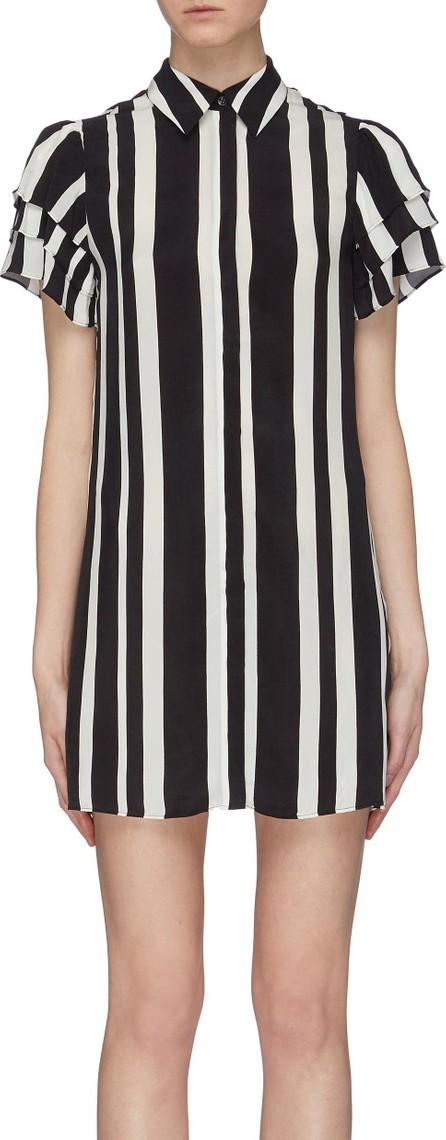 Alice + Olivia 'Jem' tiered sleeve stripe cupro shirt dress