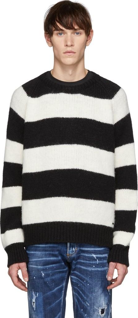 DSQUARED2 Black & White Striped Crewneck Sweater