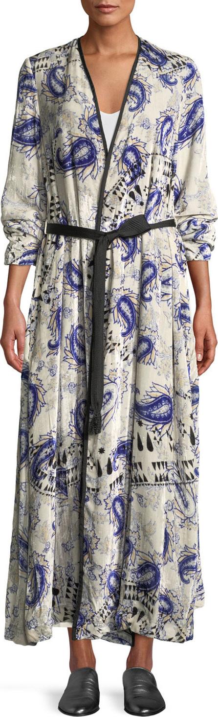 Forte Forte Afrika-Print Velvet Belted Robe Duster