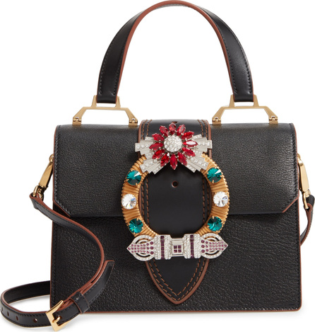 Miu Miu Madras Crystal Embellished Leather Top Handle Bag