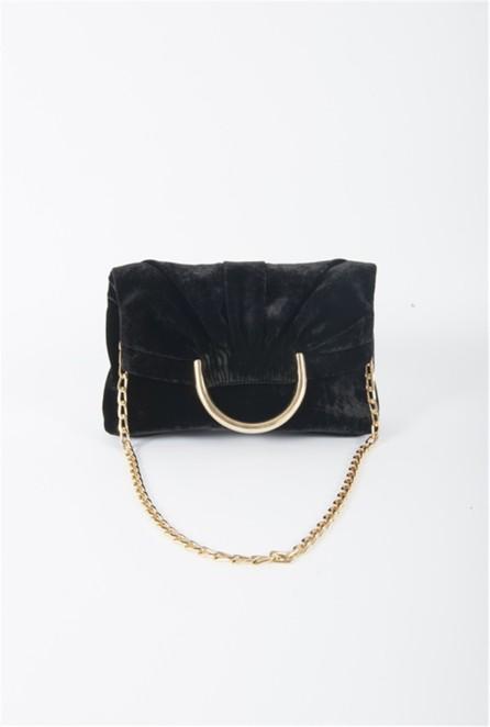 Stella McCartney Nina Velvet Fold-Over Shoulder Bag