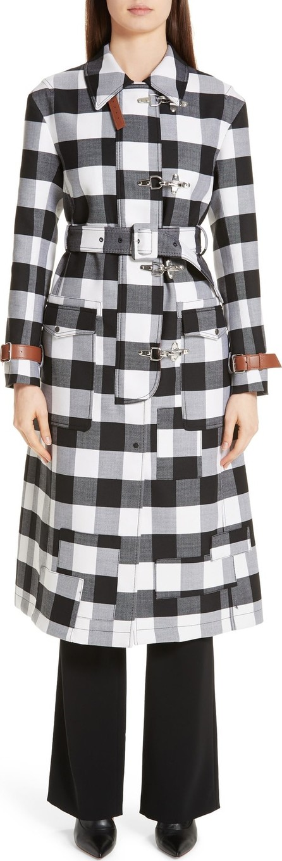 Altuzarra Leather Strap Gingham Stretch Wool Coat