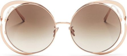 Linda Farrow Cutout titanium frame round sunglasses