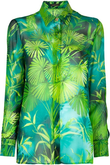 Versace Jungle print long-sleeved shirt