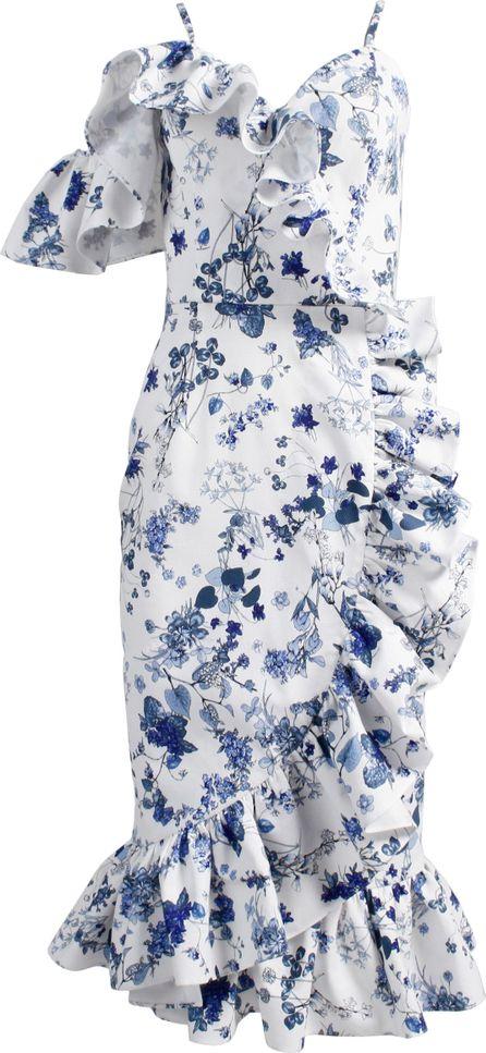 Anouki Asymmetric Ruffle Dress