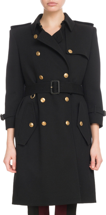 Givenchy Double-Breasted Heavy Wool Crepe Trench Coat