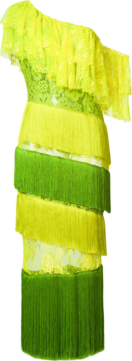 Daizy Shely Tiered fringed lace dress