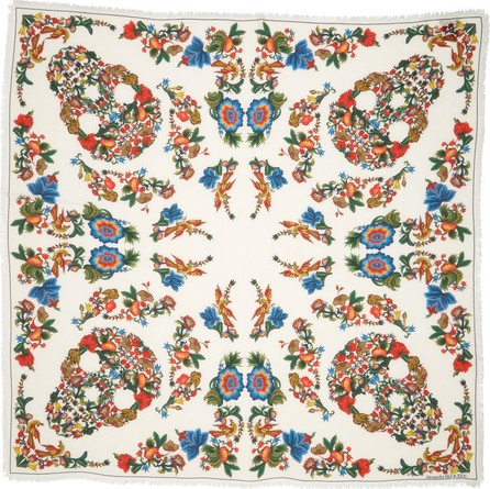 Alexander McQueen Floral Print Modal & Wool Scarf
