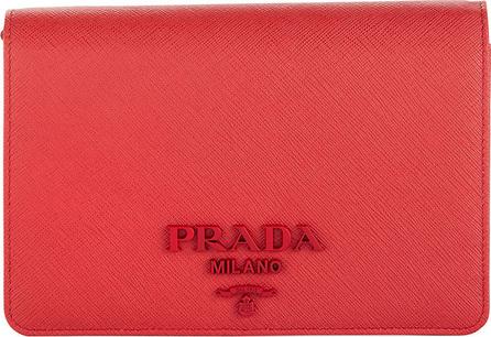Prada Small Saffiano Lux Crossbody Wallet on Chain Bag