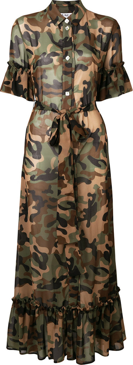 Ainea Camouflage maxi shirt dress