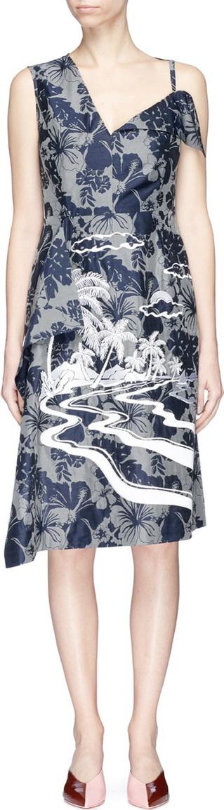 Stella McCartney Graphic embroidered floral print asymmetric dress