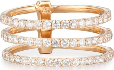 Bessa 18K Rose Gold Three-Row Ring with Diamonds