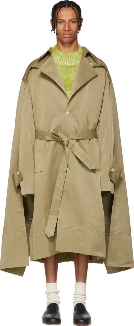 Chin Mens Khaki Double Cloak Trench Coat